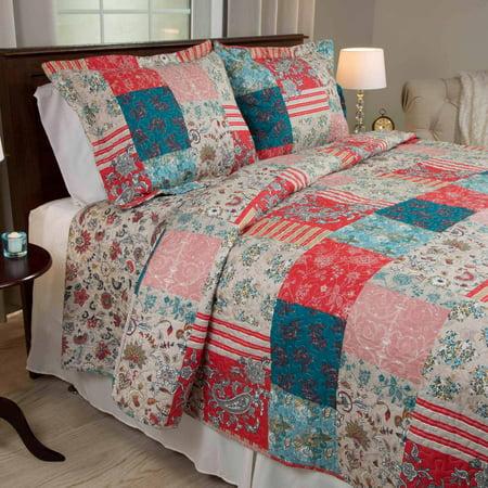 Somerset Home Premium Mallory Patchwork 3 Piece Full/Queen Quilt Bedding