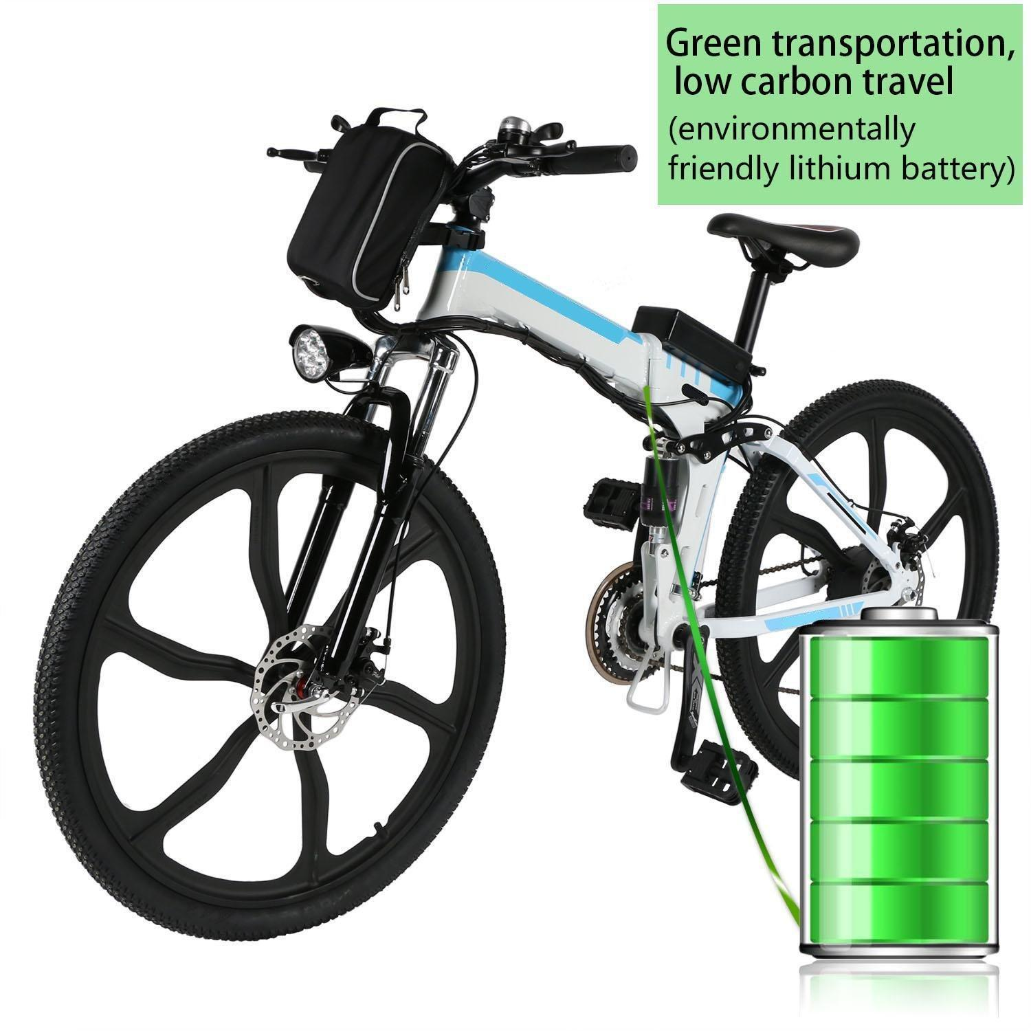 "Folding Electric Mountain Bike with 26"" Super Lightweight Magnesium Alloy 6 Spokes Integrated Wheel, Lithium-Ion Battery (36V 250W), and 21 Speed Gear HFON"