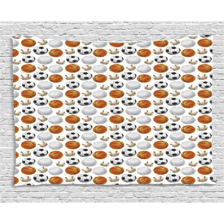 Sports Tapestry, Football and Volleyball Pattern Competition Theme Physical Activities Design, Wall Hanging for Bedroom Living Room Dorm Decor, 80W X 60L Inches, Orange Cream Black, by Ambesonne](Football Themed Events)