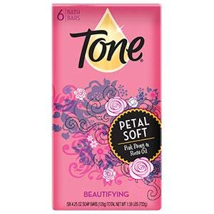 Tone Petal Soft Pink Peony & Rose Oil Bath Bars, 4.25 oz, 6 count