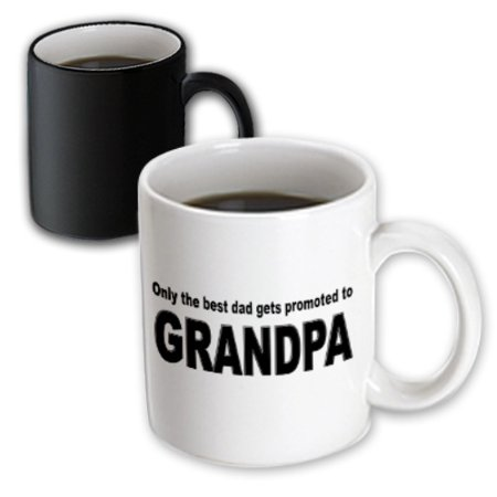 3dRose Only the best dad gets promoted to grandpa, Magic Transforming Mug,