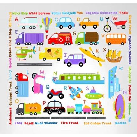 Innovative Stencils Cars Transportation Alphabet Peel and Stick Wall Nursery Kids Educational Decals Stickers #3004