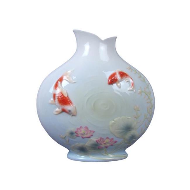 Unicorn Studios AP20245AA Glazed Porcelain Vase with Koi in Lotus Pond