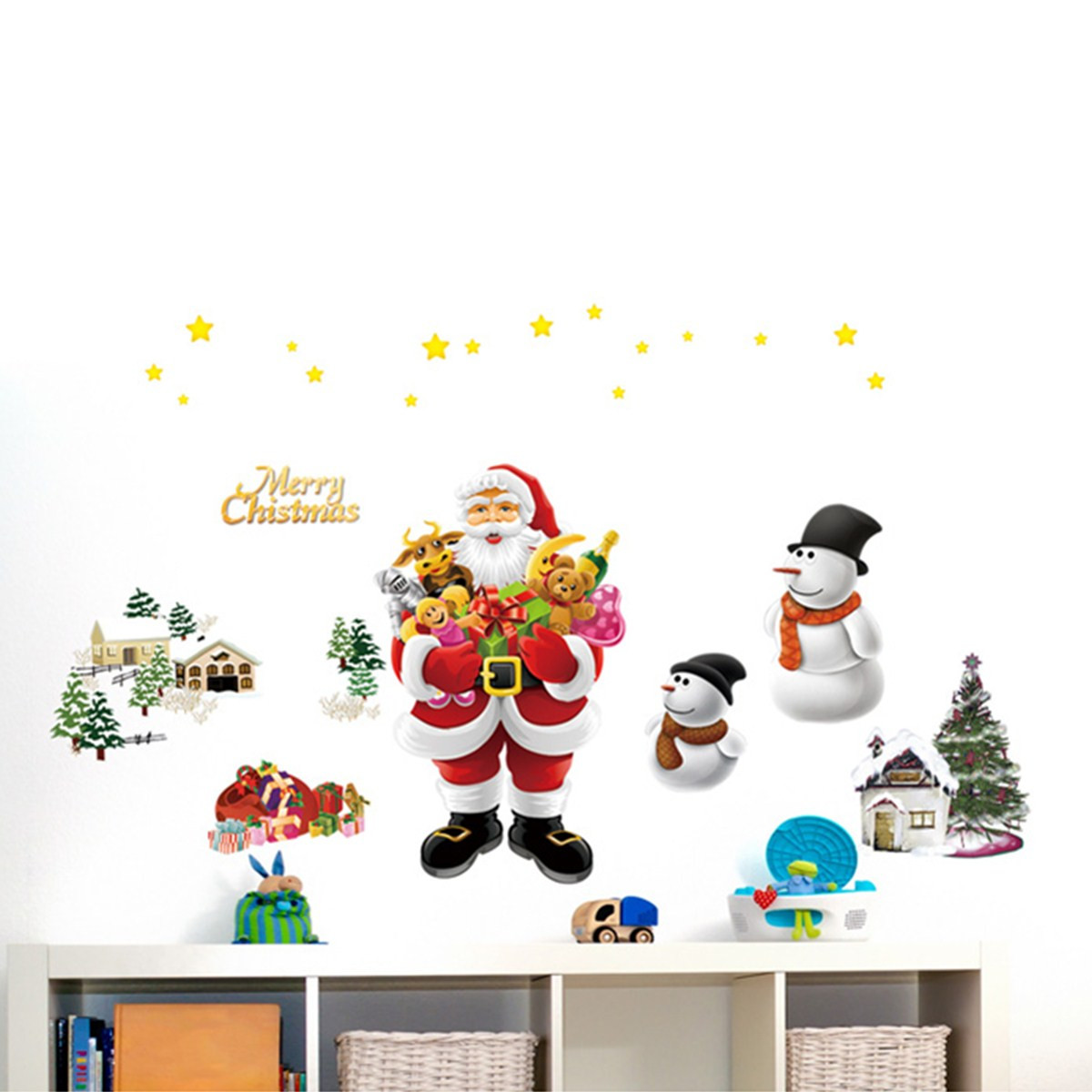 Removable Santa Claus Reindeer Window Wall Sticker Christmas Home Decor Wall Mural Decals 'Merry Christmas'' Wall Hanging Decor