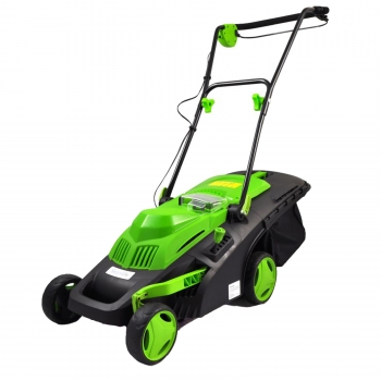 Click here to buy Cordless Lawn Mower, Electric Landscape Mower with Built-in 36V Battery, Cut Size Adjustable, Easy-Empty Grass Bin by Serene Life.
