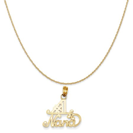 14k Yellow Gold #1 Nana Charm on a 14K Yellow Gold Rope Chain Necklace, 18""