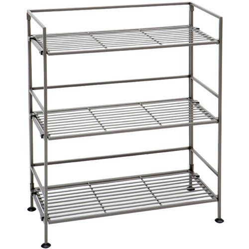 Seville Classics 3-Tier Iron Slat Tower Shelving, Satin Pewter