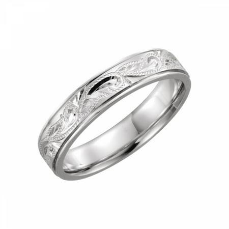 Platinum Hand Engraved Band - Platinum 5mm Hand-Engraved Band Size 7 51326 / Platinum / 7 / Duo Hand Engraved Wedding Band