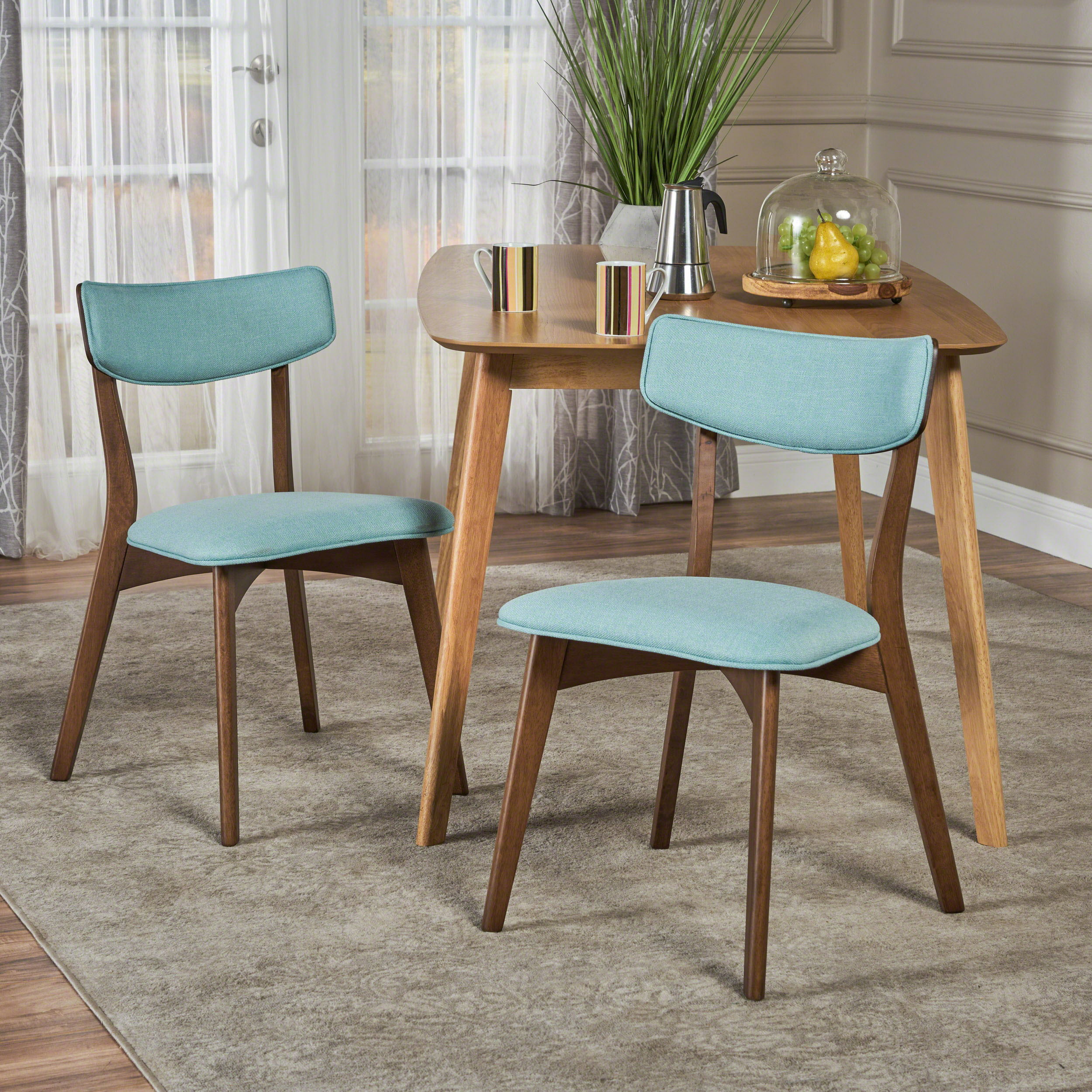 Molly Mid Century Modern Fabric Dining Chairs with Rubberwood Frame, Set of 2, Mint and Natural Walnut