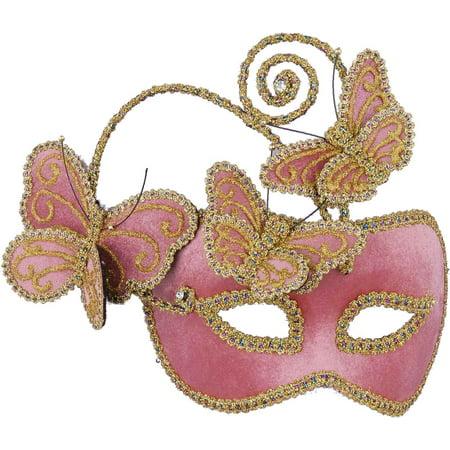 Deluxe Pink Gold Venetian Carnival Glasses Mask Butterflies
