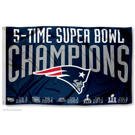 New England Patriots 5 Time Super Bowl Champions Two Sided Flag