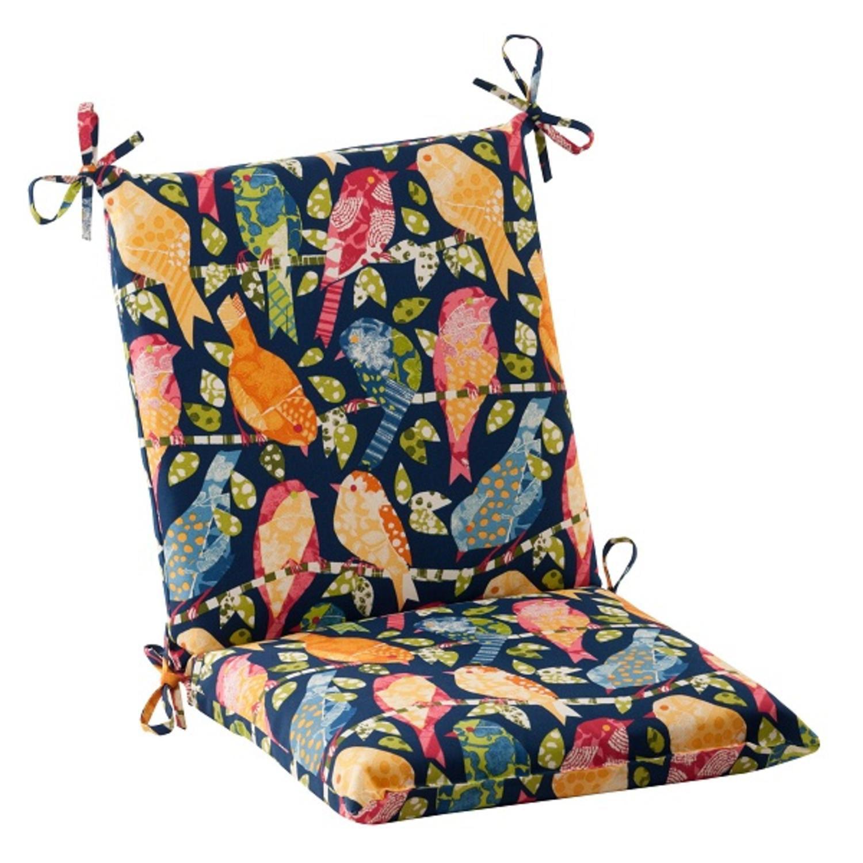 "36.5"" Solarium Blue Colorful Bird Watchers Outdoor Squared Patio Chair Cushion"