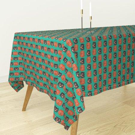 Tablecloth Vintage Halloween Jack O Lantern Black Cat Cotton Sateen