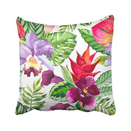 RYLABLUE Colorful Red Flowers And Green Leaves Watercolor Painting Decorative Pillow Cover With Hidden Zipper Decor Cushion Two Sides 20x20 inches - image 1 of 1