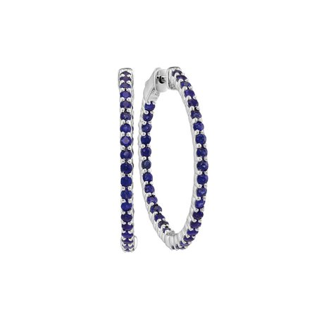 14kt White Gold Womens Round Natural Blue Sapphire Hoop Earrings 2-1/3 Cttw