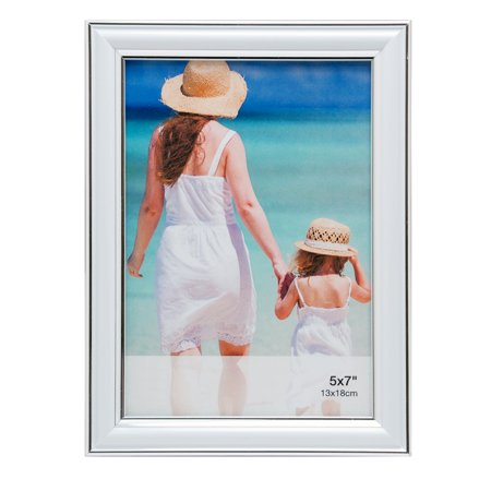 Enigma 5 In. by 7 In. Picture Frame with Silver Lining, White - Frames In Bulk