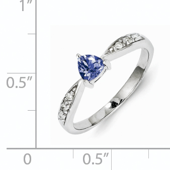 925 Sterling Silver Rhodium-Plated Tanzanite and Diamond Ring - image 1 of 2