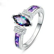 Fashion Women 925 Silver Jewelry Mystic Topaz Wedding Engagement Ring