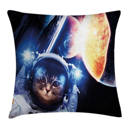 Planet Eclipse Cover (Space Cat Throw Pillow Cushion Cover, Kitten with Space Suit Planets Nebula Supernova Eclipse Artwork, Decorative Square Accent Pillow Case, 18 X 18 Inches, White Orange and Dark Blue, by Ambesonne)