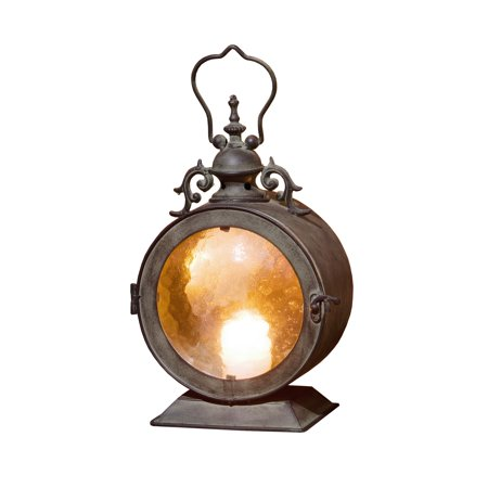Metal Round Hanging Candle Lantern, Curved Glass (Metal Rounds)