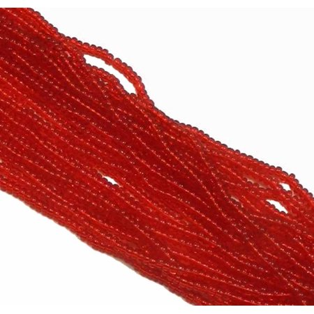 Red Bead Double Strand - Light Ruby Red Czech 8/0 Glass Seed, Loose Beads, 12 Strand Hank Preciosa