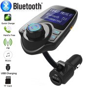 Bluetooth FM Transmitter for Car, Wireless Bluetooth Radio Transmitter Adapter Car Kit with Hand-Free Calling, Music Player Support TF Card USB Flash Drive AUX Input/Out