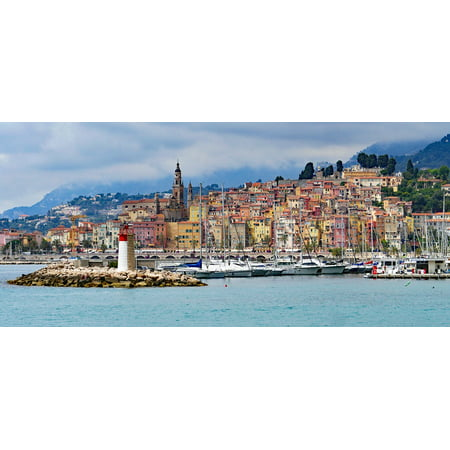 LAMINATED POSTER Lighthouse Harbour Entrance Menton Old Town Poster Print 24 x 36