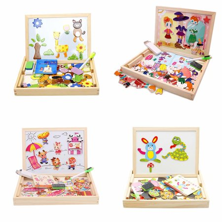 100Pcs Animals Wooden Jigsaw Puzzle Sets, double-sided magnetic drawing board children's puzzle animal jigsaw