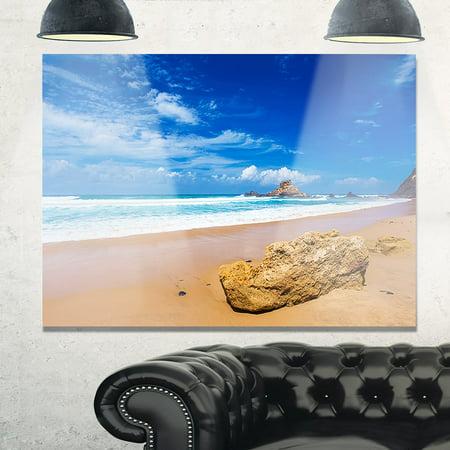 - DESIGN ART Huge Brown Rock in Atlantic Seashore - Seashore Glossy Metal Wall Art 47W X 39H 1 Panel