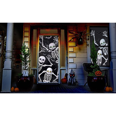 Halloween Haunted House Decorations - Skeleton Door & Window Covers (2 Piece Set) - By By Retail Parity - Halloween Retail