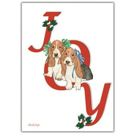 Pipsqueak Productions C408 Basset Joy Christmas Boxed Cards - Pack of - Joy Boxed Christmas Cards