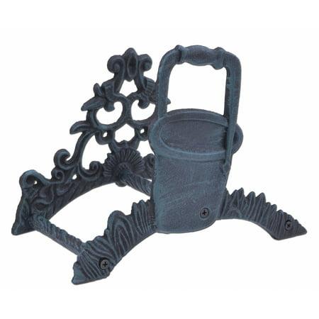 Garden Hose Holder - Water Pail Bucket - Verdigris Cast Iron - 10