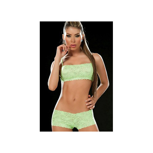 Grupo Espiral LLC Hot Green Deep V Lace Thong 93-HG Hot Green
