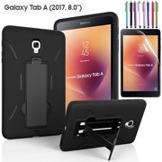 """EpicGadget Galaxy Tab A 8 Case (2017), Heavy Duty Rugged Impact Hybrid Case with Build In Kickstand Protection Cover For Galaxy Tab A 8.0"""" SM-T380/T385 Tablet + Screen Protector + Pen (Black/Black)"""