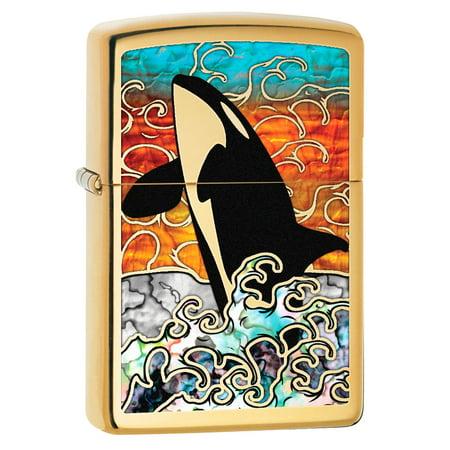 Zippo Lighter: Fusion Orca, Killer Whale in Ocean - High Polish Brass 80244