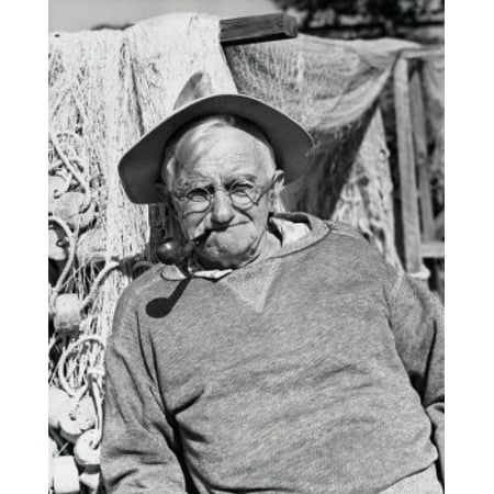 Portrait of fisherman smoking pipe 1955 Canvas Art - (18 x 24)