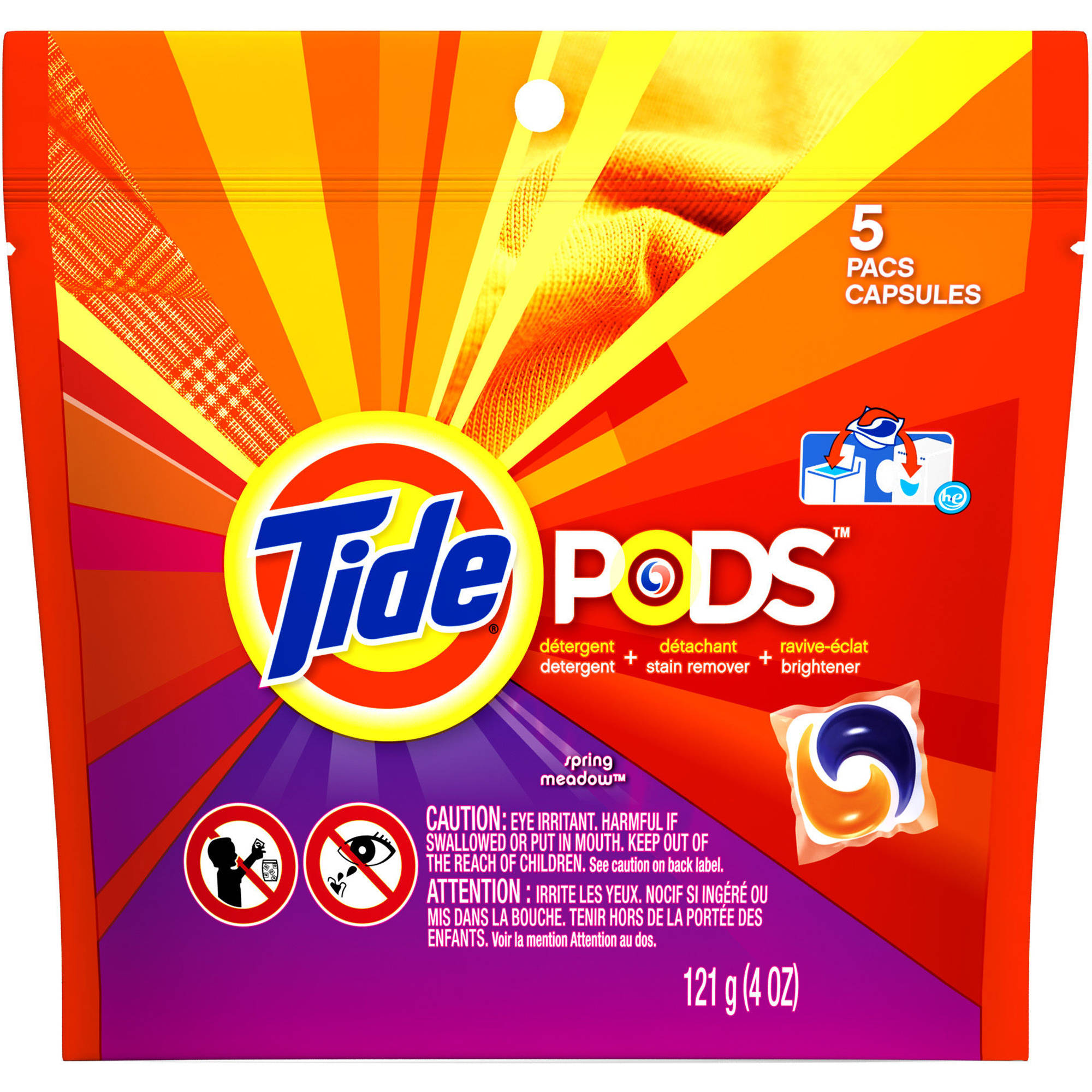 Tide PODS Spring Meadow Scent Laundry Detergent, 5 count