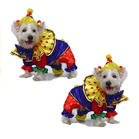 Dog Costume SHINY CLOWN COSTUMES Dogs As Colorful Circus Clowns(Size 0)](Circus Dog Costume)