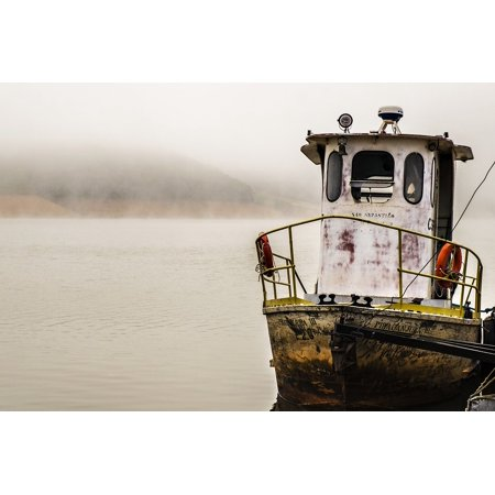 Framed Art for Your Wall Water Tug Cold S?o Paulo Dam Winter Fog Boat 10x13 Frame