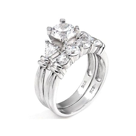2 ct Past Present Future Bridal Wedding ring designer Set 925 Silver ()