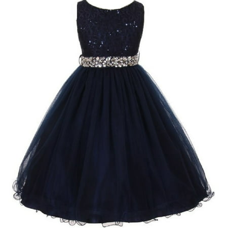Lace Decorated Sequins Rhinestone Belt Bridesmaid Flower Girls Dresses Navy Size 4-14