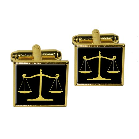 - Balanced Scales of Justice Symbol Legal Lawyer Gold and Black Square Cufflinks
