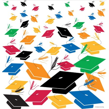 Graduation Toss Printed Plastic Tablecover (1 ct)