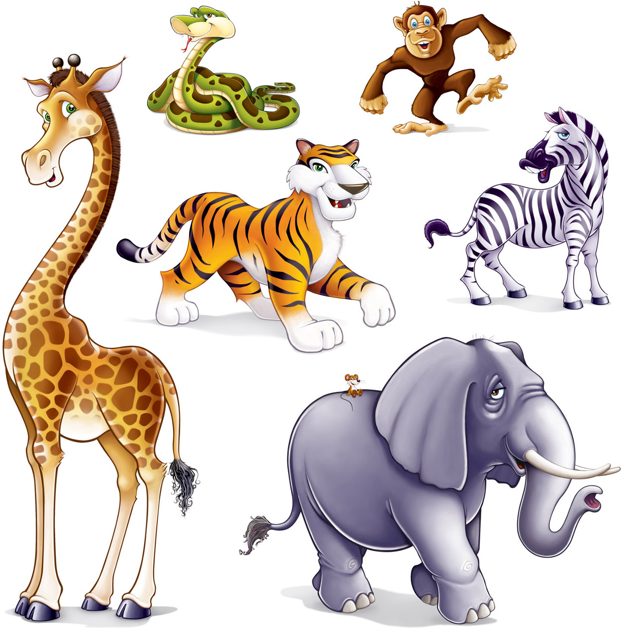 "Set Of 6 Jungle Animal Props Decoration 15"" - 5' 3"""