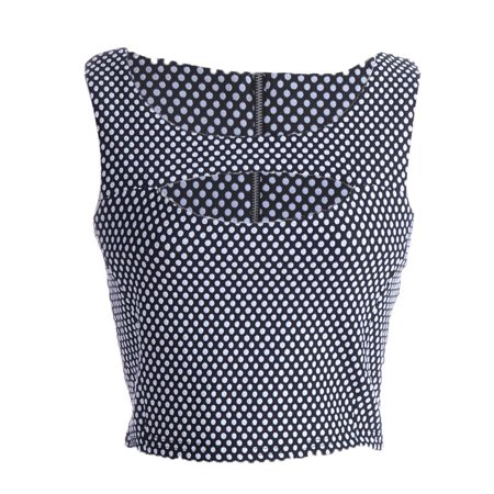 S/M Fit Black with White All Over Polka Dots Cut Out Bodice Shell Top ()