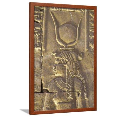 Relief Depicting the Goddess Hathor, Temple of Horus, Edfu, Egypt, North Africa, Africa Framed Print Wall Art By Richard Maschmeyer