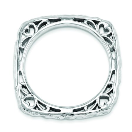 Sterling Silver Stackable Expressions Polished Rhodium-plate Square Ring Size 9 - image 2 de 3