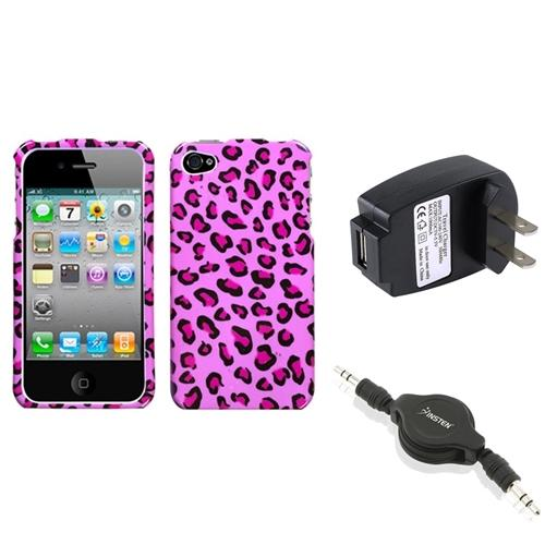 Insten Wall Charger Audio Cable Pink Leopard Skin Phone Case Cover For iPhone 4S/4