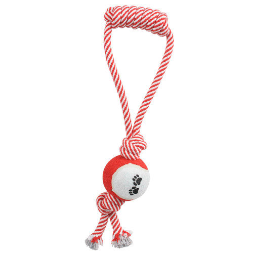 PET LIFE Pull Away Rope and Tennis Ball for Pets, Red