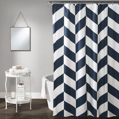 jigsaw chevron shower curtain navy